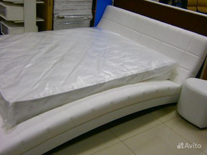 кровать двуспальная оливия белая экокожа Festimaru