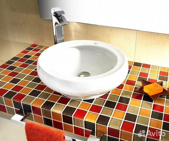Столешница из мозаики в ванной комнате
