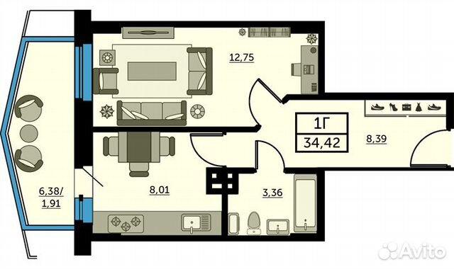 1-к квартира, 34 м², 24/25 эт. купить 1