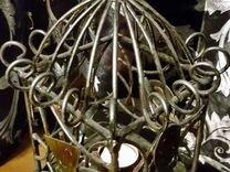 Кованый большой подвесной подсвечник клетка фонарь
