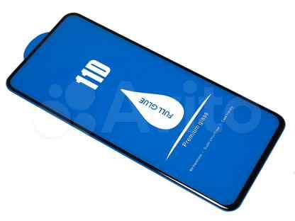 Защитное стекло для xiaomi Redmi K30 11D full glue (синяя основа) пакет черный