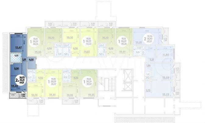 2-к квартира, 44.1 м², 1/16 эт.  88613255631 купить 1